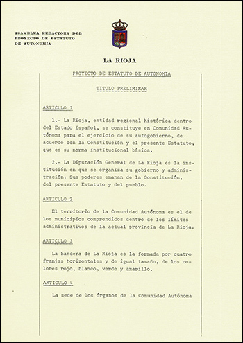 Primera página del Estatuto de Autonomía de La Rioja